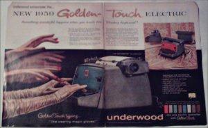 1959 Underwood Golden Touch Electric Typewriter ad