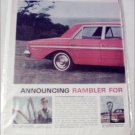 1963 American Motors Rambler Classic 770 4 dr sedan car ad