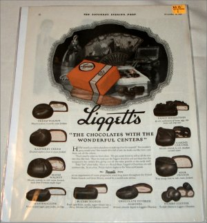 1921 Liggetts Chocolates ad