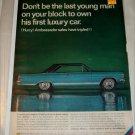 1966 American Motors Ambassador DPL 2 dr ht car ad black & blue