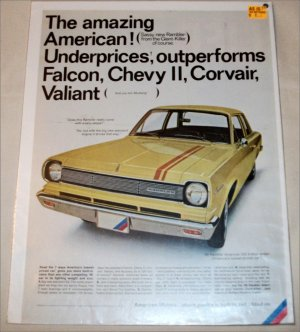 1966 American Motors Rambler American 220 2 dr sedan car ad yellow
