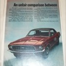 1968 American Motors Javelin and Mustang Notchback car ad