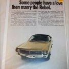 1968 American Motors Javelin & Rebel 4 dr sedan car ad (yellow)