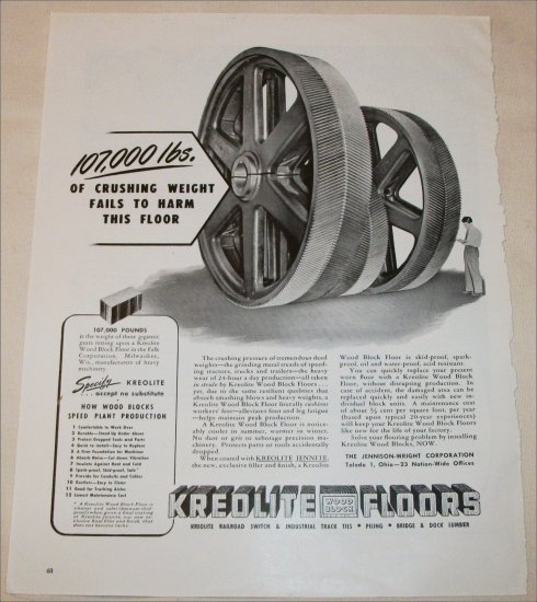 1948 Kreolite Wood Block Floors ad