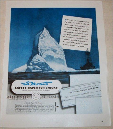 1948 La Monte Safety Paper for Checks ad