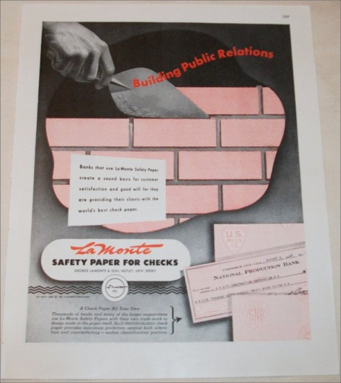 La Monte Safety Paper for Checks ad