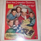 1951 Whitman's Sampler Chocolates Christmas ad featuring Bob Crosby