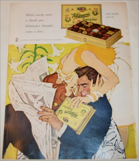 1963 Whitman's Sampler Chocolates Couple ad