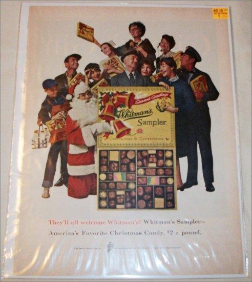 1961 Whitmans Sampler Chocolates Christmas ad