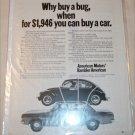 1969 American Motors Rambler American 2 dr sedan & Volkswagon car ad