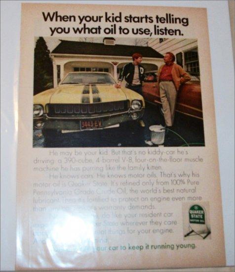 1969 Quaker State Motor Oil ad featuring American Motors AMX