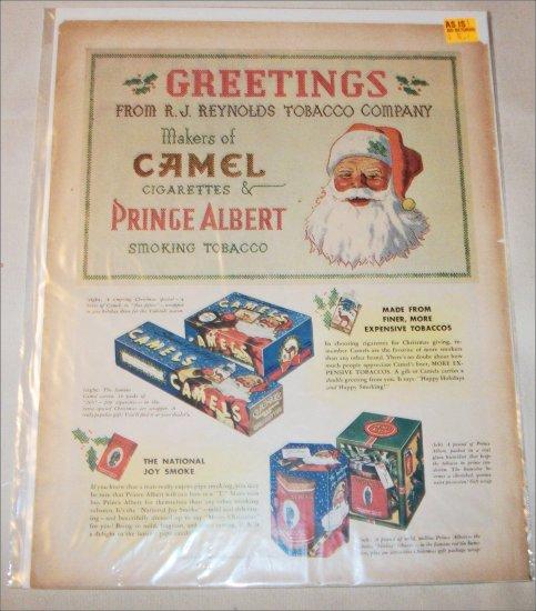 1937 Camel Cigarette & Prince Albert Tobacco Christmas ad