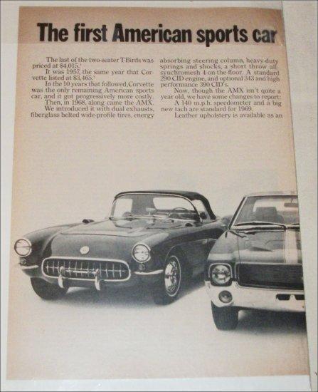 1969 American Motors AMX & 57 Tbird & 57 Corvette car ad
