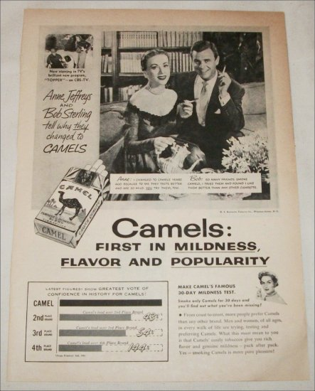 1953 Camel Cigarette ad featuring Anne Jeffreys & Bob Sterling