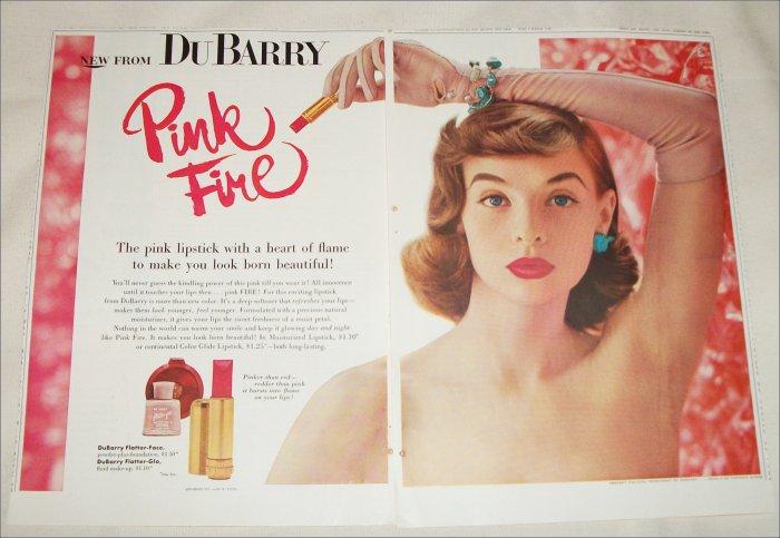 1956 Du Berry Pink Fire Lipstick ad