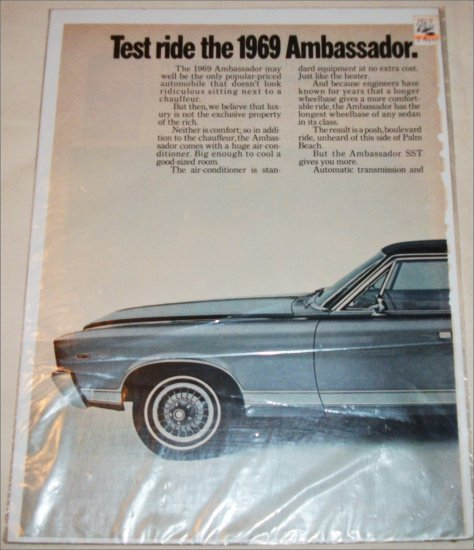 1969 American Motors Ambassador SST 4 dr sedan car ad