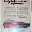1970 American Motors AMX car ad red & white front