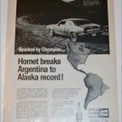1970 Champion ad featuring American Motors Hornet 2 dr sedan