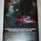 1972 American Motors Gremlin X car ad red