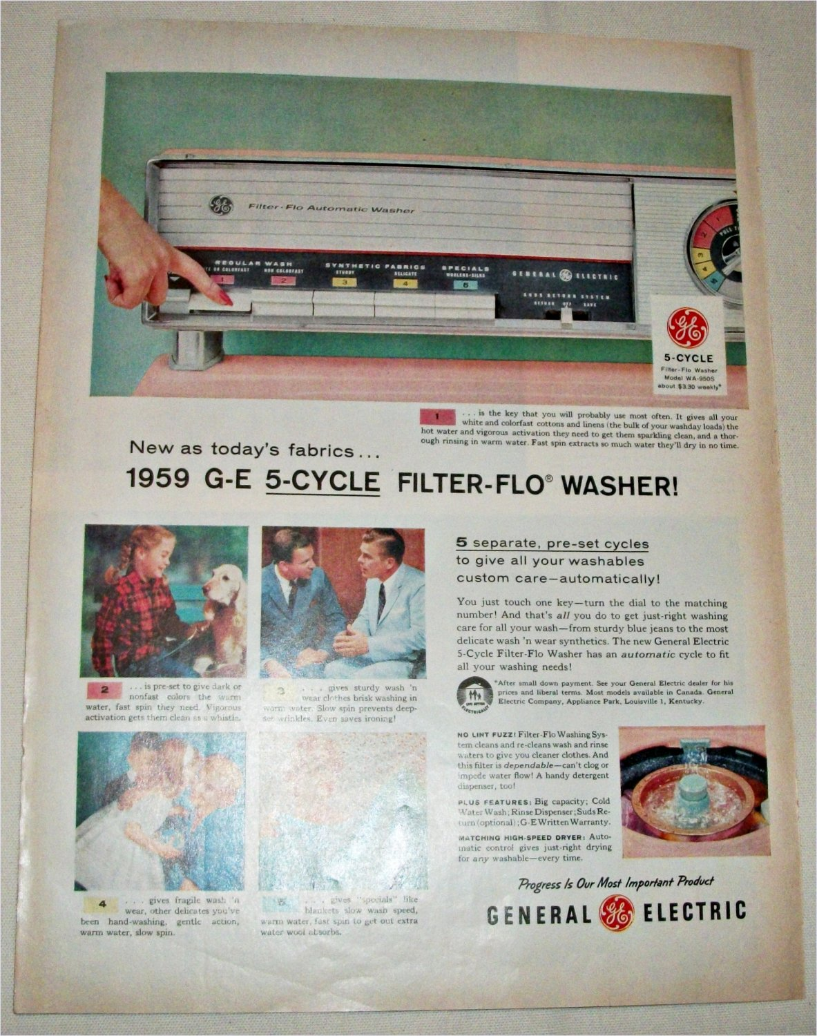 1959 GE 5 Cycle Filter Flo Washer ad #2