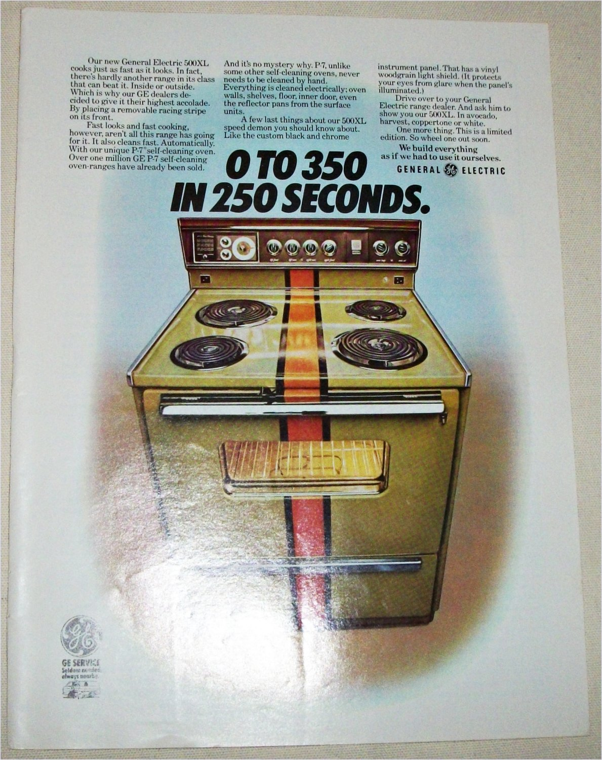 1972 GE 500 XL Electric Range ad