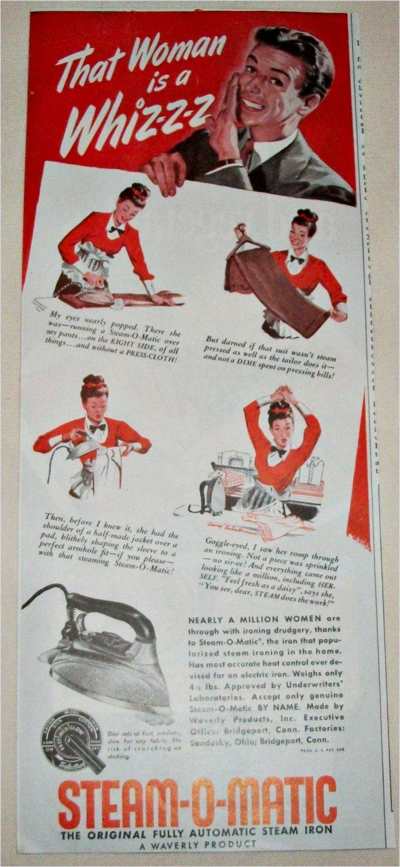 1951 Steam-O-Matic Iron ad