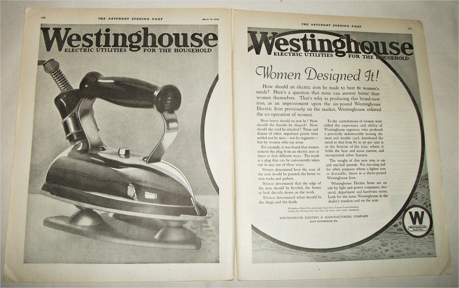 1920 Westinghouse Electric Iron ad