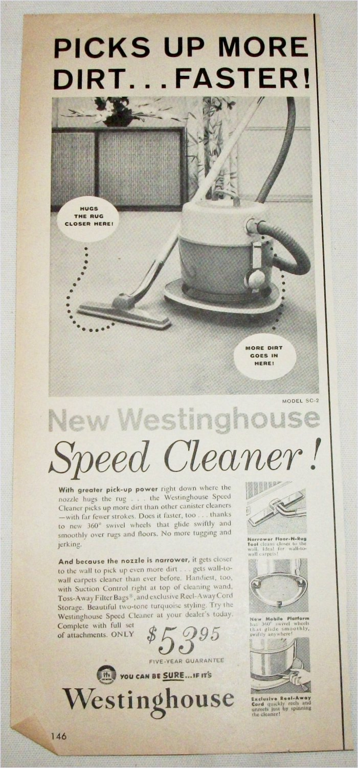 1957 Westinghouse Speed Cleaner Vacuum ad
