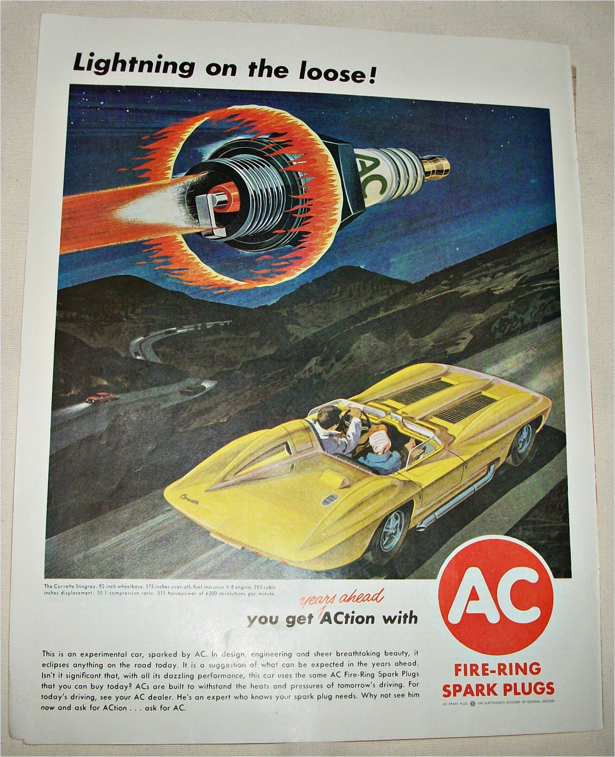 1962 AC Fire-Ring Spark Plugs ad #3 featuring Corvette