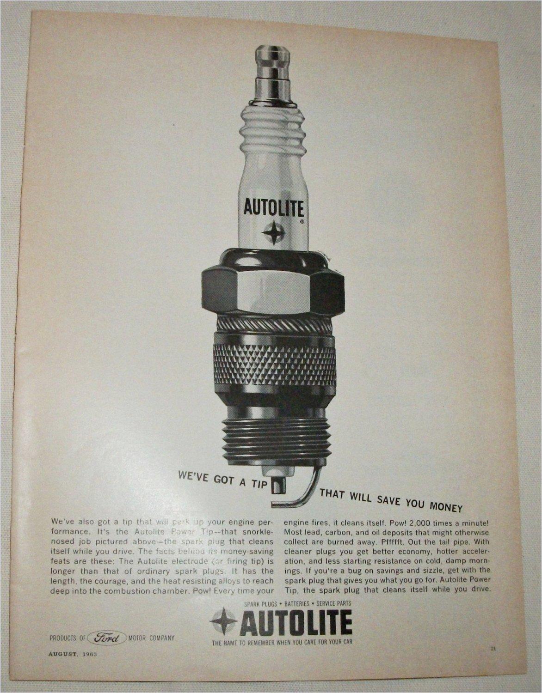 1963 Auto-Lite Power Tip Spark Plug ad