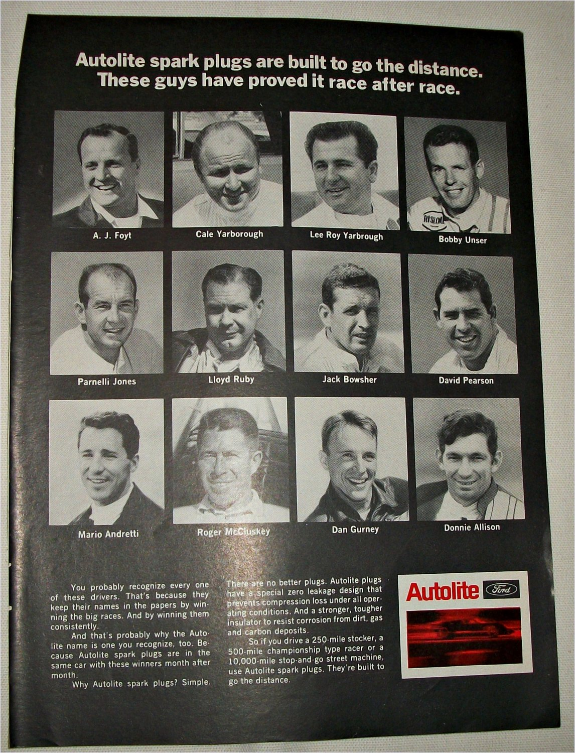 1969 Auto-Lite Spark Plugs ad featuring Racing Drivers
