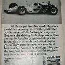 1970 Auto-Lite Spark Plugs ad featuring Al Unser
