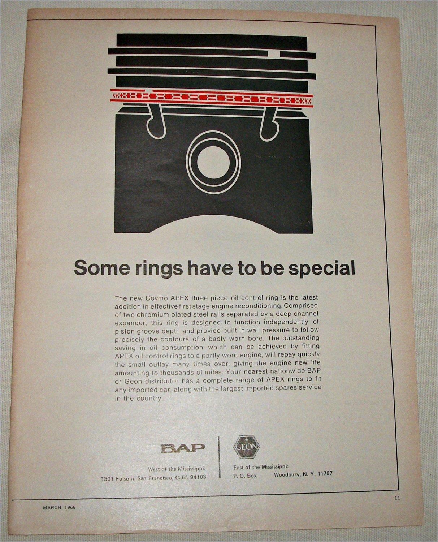 1968 BAP/GEON Covmo APEX Piston Rings ad