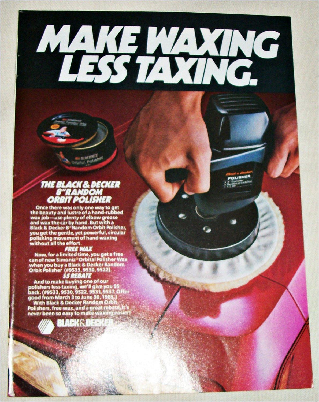 "1985 Black & Decker 8"" Orbit Polisher ad"