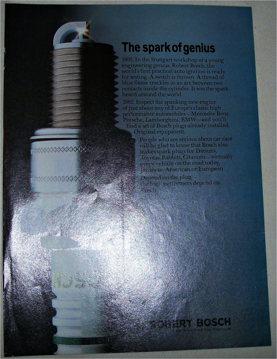 1982 Bosch Spark of Genius Spark Plugs ad