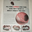 1955 Champion Spark Plugs Mexican Road Race ad