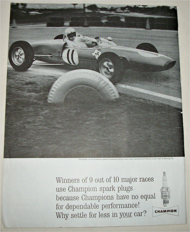 1962 Champion Spark Plugs ad featuring Pat Pigott