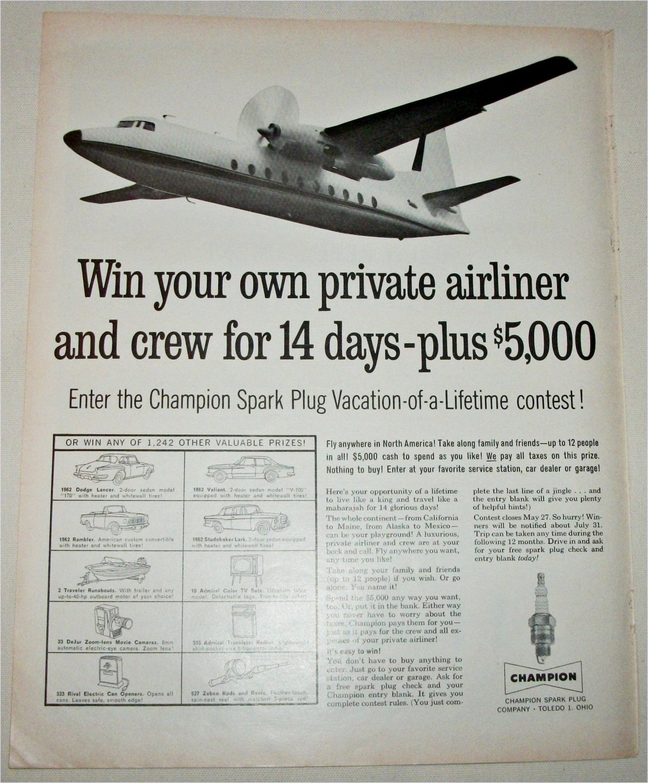 1962 Champion Spark Plugs Contest ad #1