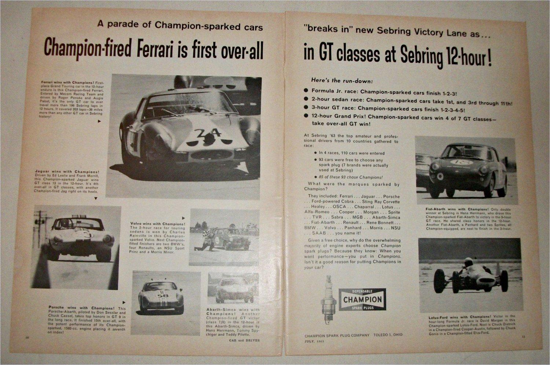 1963 Champion Spark Plugs Ferrari's at Sebring ad