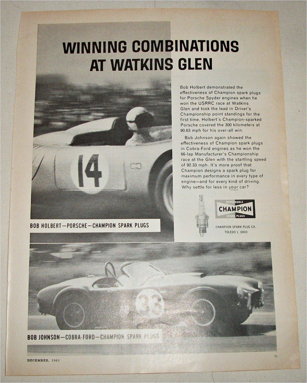 1963 Champion Spark Plugs Watkins Glenn ad featuring Shelby Cobra