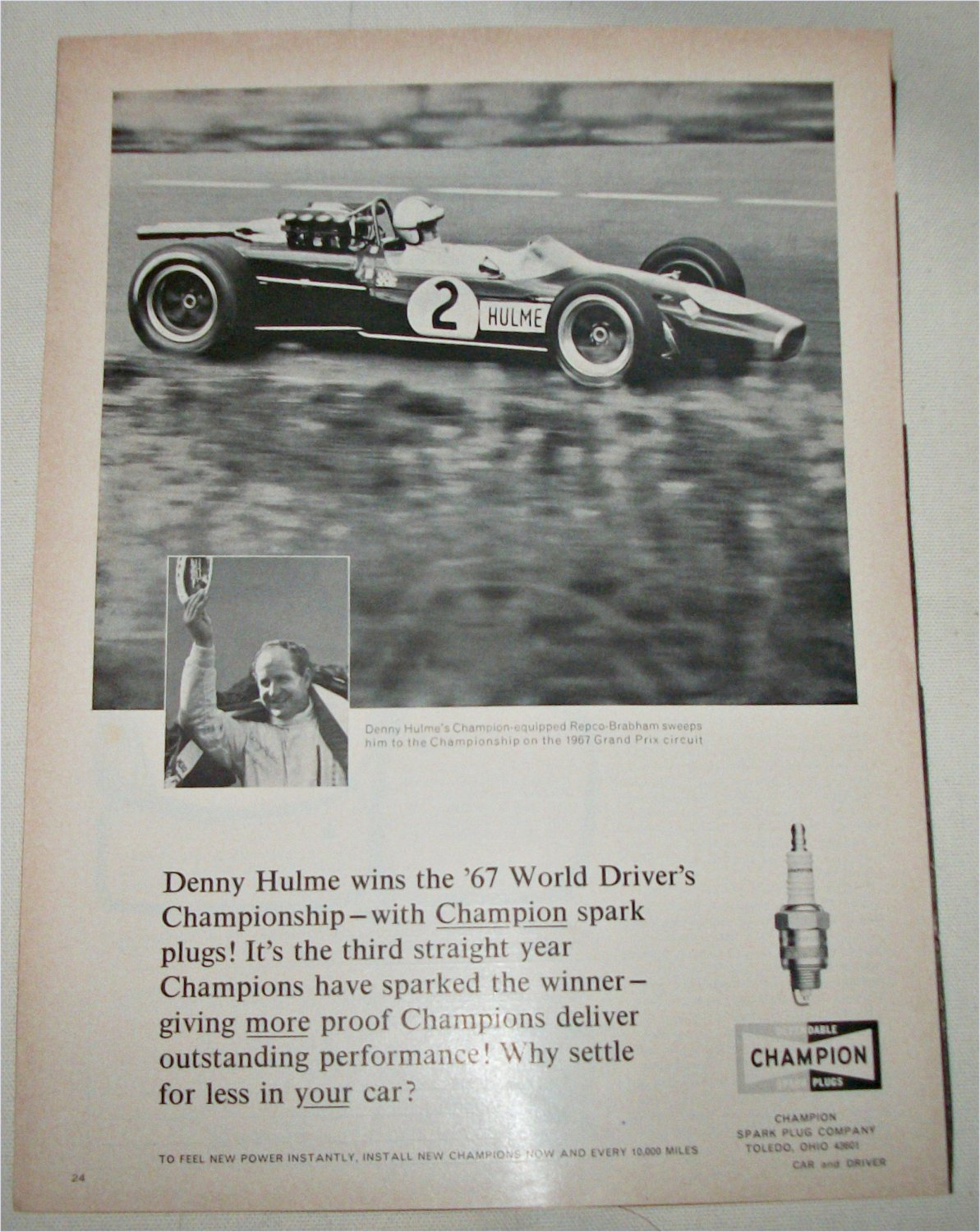 1968 Champion Spark Plugs ad featuring Denny Hulme