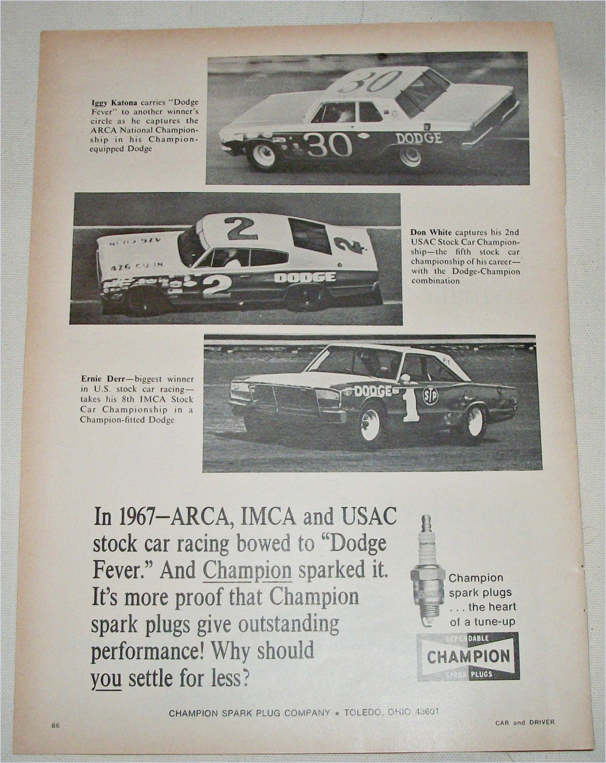1968 Champion Spark Plugs Dodge Fever ad