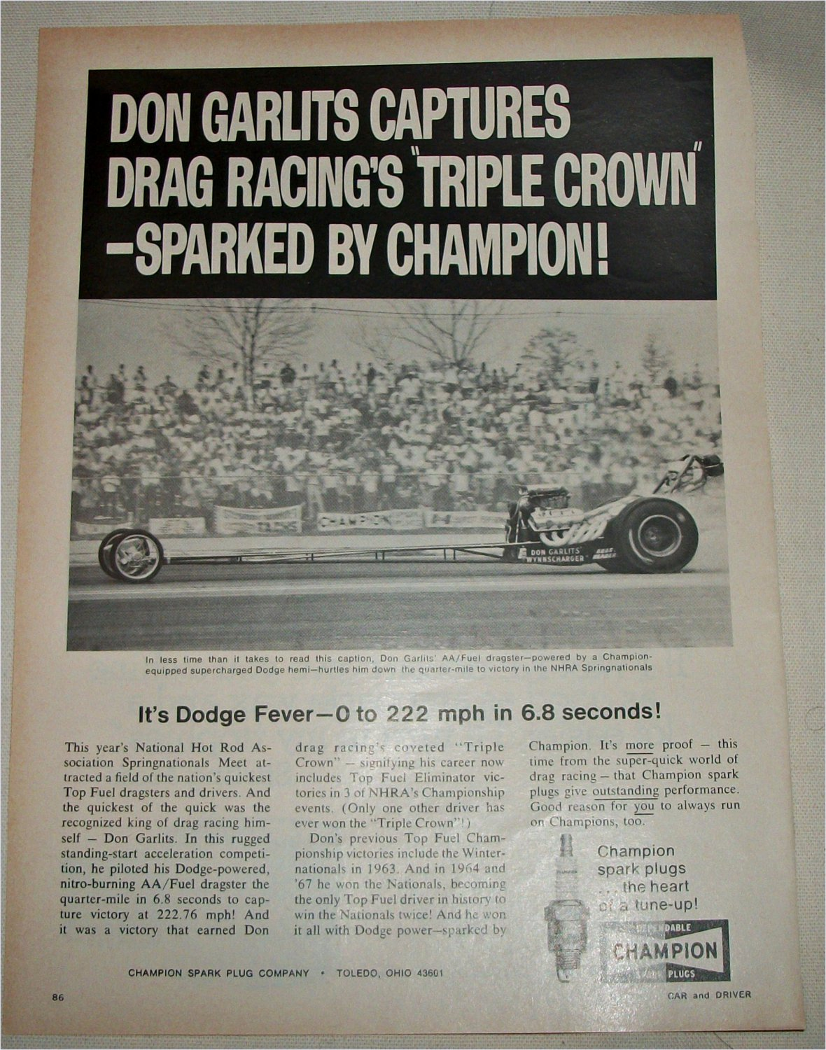 1968 Champion Spark Plugs ad featuring Don Garlits
