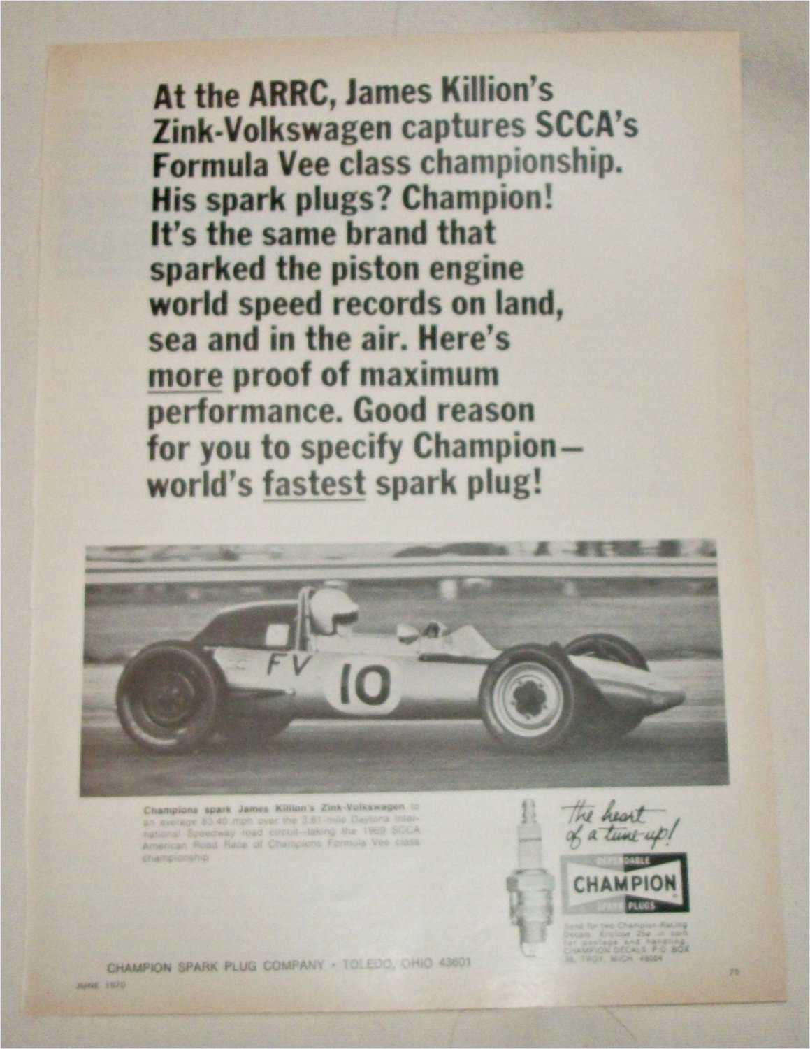 1970 Champion Spark Plugs Zink-Volkswagon ad