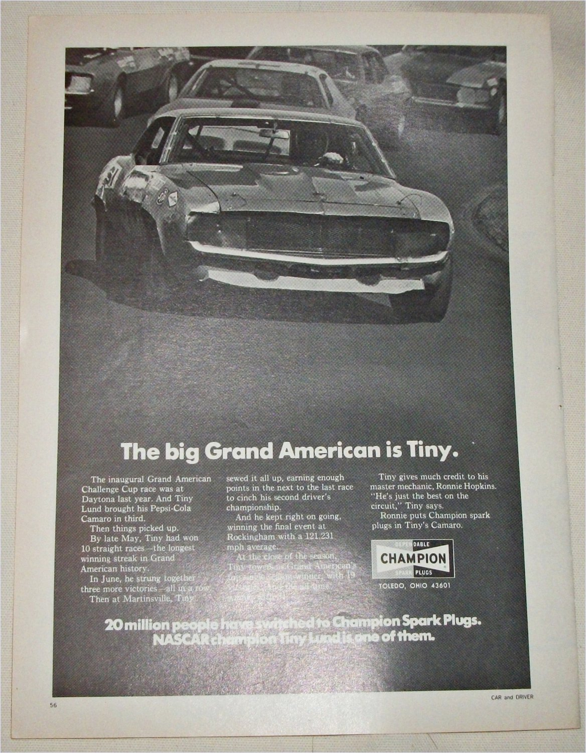 1971 Champion Spark Plugs ad featuring Tiny Lund