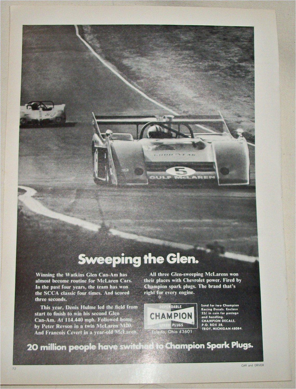 1972 Champion Spark Plugs Watkins Glenn ad