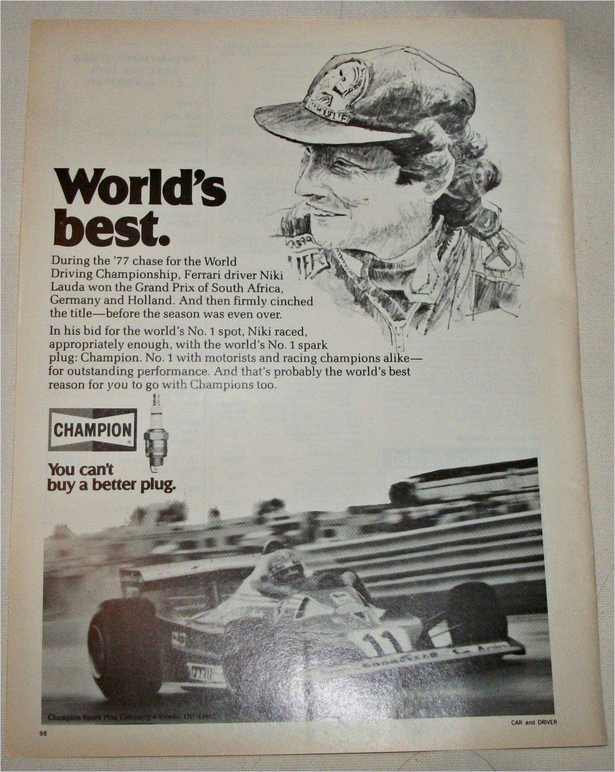 1978 Champion Spark Plugs ad featuring Niki Lauda