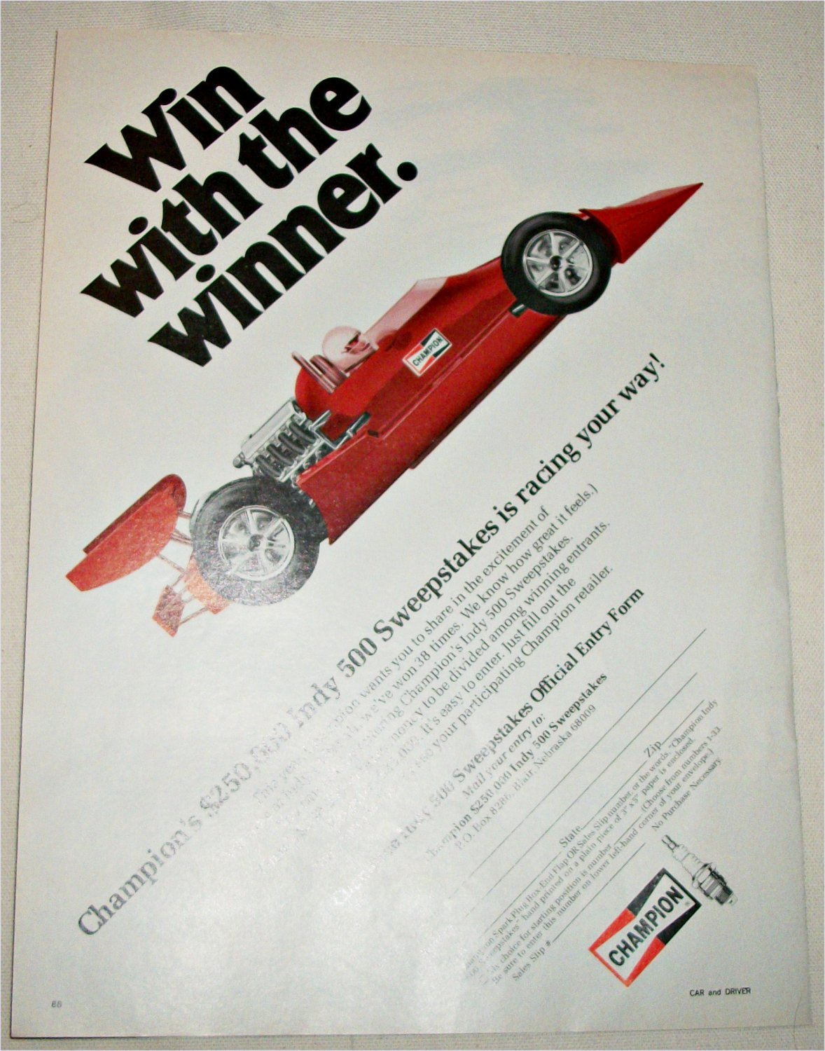 1978 Champion Spark Plugs Indy 500 Sweepstake ad