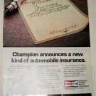 1984 Champion Spark Plugs Insurance ad