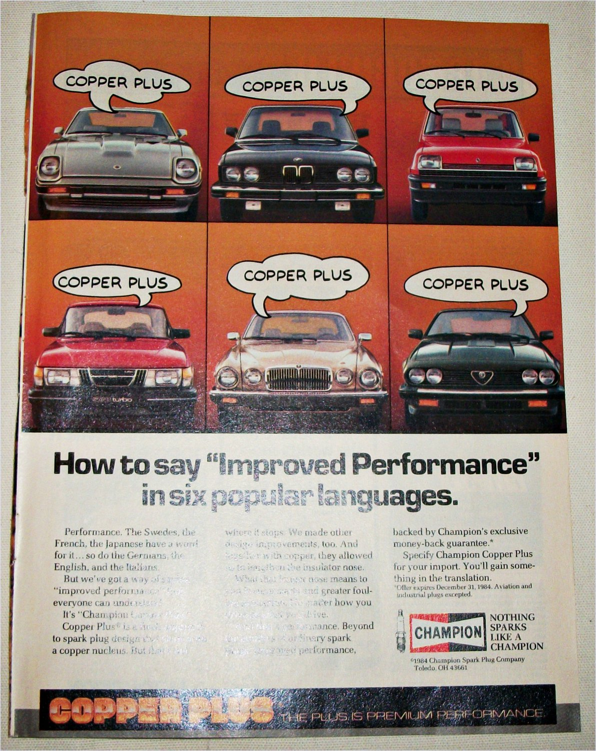 1984 Champion Spark Plugs Improved Performance ad
